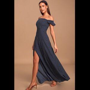 Lulu's Navy Blue Polka Dot Off-Shoulder Maxi Dress